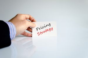 Pricing strategy text concept isolated over white background